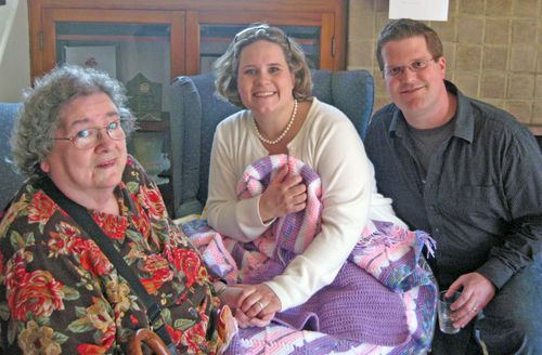 Darrin and I with Sherry Richardson and the beautiful blanket she made for us